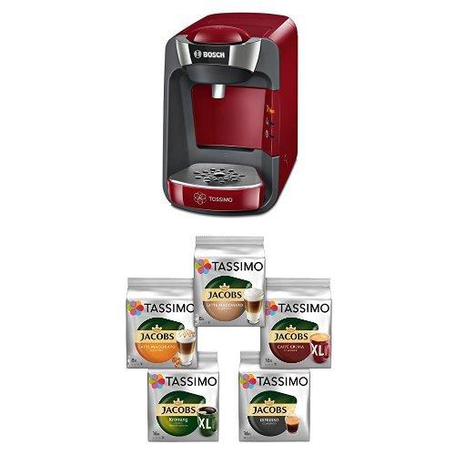 Bosch TAS3203 Tassimo T32 Suny Multi-Getränke-Automat Suny, autumn rot / anthrazit + Tassimo Vielfaltspaket - 5 verschiedene Packungen kaffeehaltiger Getränke, 1er Pack (1 x 927 g)