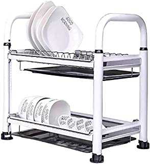 DJSMsnj Rangement de cuisine, double égouttoir en métal pour vaisselle de cuisine