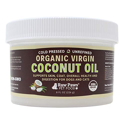 Raw Paws Organic Virgin Coconut Oil for Dogs & Cats, 8-oz - Supports Immune System, Digestion, Oral Health, Thyroid - All Natural Allergy Relief for Dogs, Hairball Relief, Tick Flea Control for Dogs