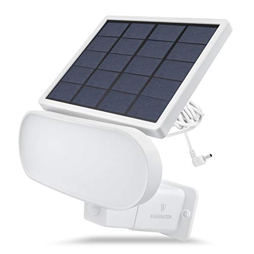 Wasserstein 2-in-1 Solar Panel Charger & Security Light Compatible with Stick Up Cam Battery & Spotlight Cam Battery, and Reolink Argus Pro (White)