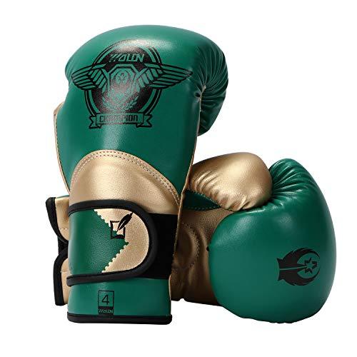 HUINING Guantes de boxeo para niños de 3 a 15 años de edad, de piel sintética, guantes de boxeo, 4oz, 6oz, color Oro verde., tamaño 118 ml