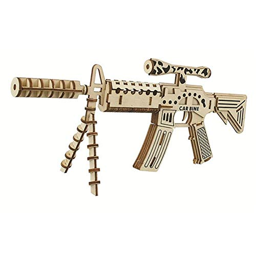 DNAMAZ Pistolas DIY 3D Montado Pistola Niños Rompecabezas de Madera de los Juguetes del revólver Rifle Ametralladora Rompecabezas de Mesa Infantiles Juegos de Bricolaje Bandas (Color : 1)