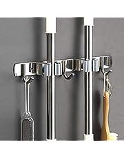 Saxhorn Soporte de acero inoxidable para escobas o escobas de pared, para casa, cocina, baño, garaje, jardín