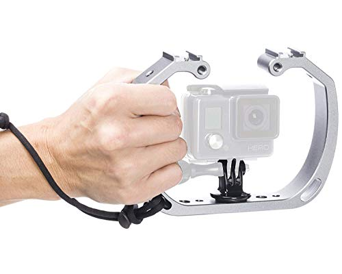 Movo GB-U70 Underwater Diving Rig for GoPro Hero with Cold Shoe Mounts, Wrist Strap - Works with HERO3, HERO4, HERO5, HERO6, HERO7, HERO8, HERO9, Osmo Action Cam - Perfect Scuba Gear GoPro Accessory