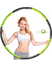 dibikou Hula Hoop Gewogen Hula Hoop voor Fitness Vouwen 1 kg (2,2lbs), 8 Sectie Splicing AfneembaarVerstelbare Breedte (26,4-34,6 cm) Fitness Hula Hoop