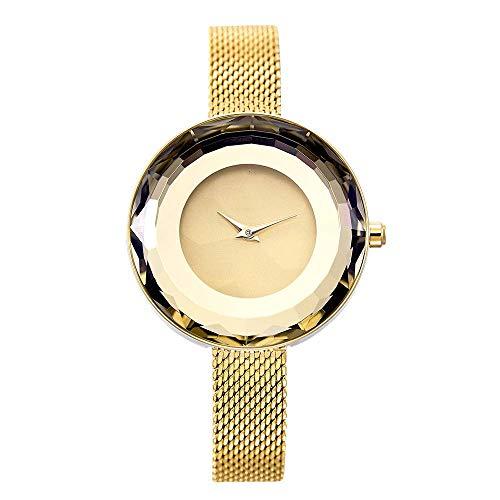 RNMCAF Reloj Mujer Prisma Cara Plata Acero Malla Cuarzo Relojes para Mujeres Reloj Superior, GoldGold