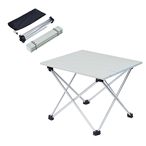 ANPI Aluminum Folding Camping Table, Roll Up Ultralight Aluminum Table Top with Carrying Bag for Picnic Camping Hiking Travel Fishing Beach BBQ (Silver, S)