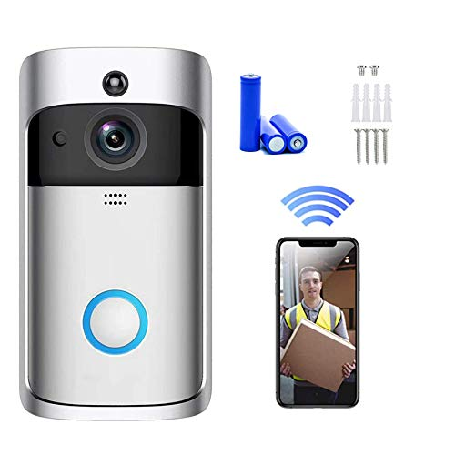 LEXG Smart HD Wireless Video Doorbell Security Camera with PIR Motion Detection Night Vision Two-Way Talk and Real-time Video 2.4 Ghz WiFi Low Consumption with 3 Batteries