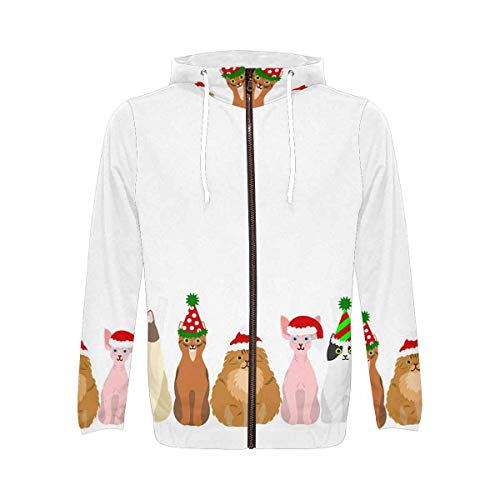 INTERESTPRINT Men's Long Sleeve Hoodie for Running Cycling Gym Christmas Cats Party Hat S