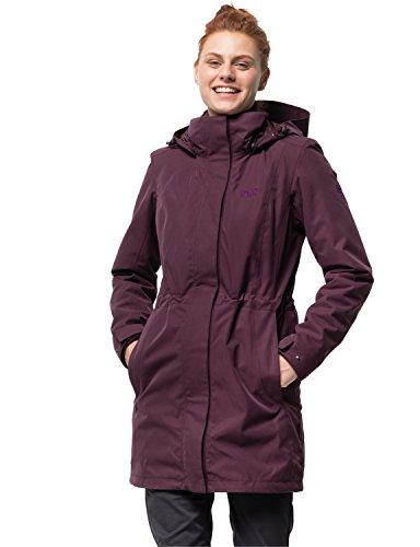 Jack Wolfskin Damen Ottawa Coat 3-in-1-Mantel Wasserdicht Winddicht Atmungsaktiv 3in1-Jacke, rot (burgundy), XS