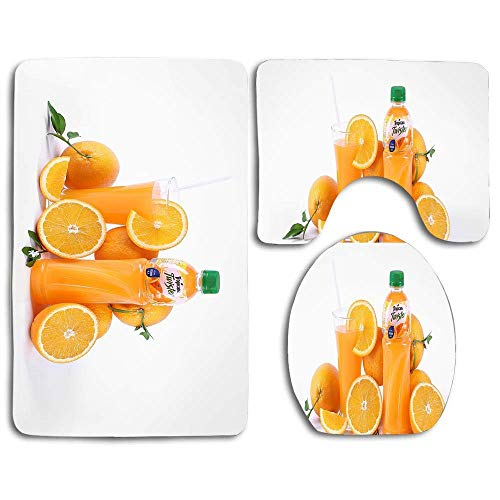 Tapis de bain doux antidérapant 3 pièces Set Oranges Fruits, Jus frais, Jus Tropicana Tapis lavable de salle de bain + Tapis de contour + Housse de siège de toilette, Tapis de sol pour paillassons Bai