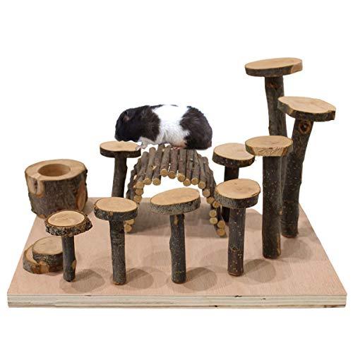 【 運動不足解消に 】iikuru ハムスター おもちゃ 遊び道具 かじり木 リス アスレチック 木製 インコ トンネル 餌入れ 木 小動物 ハウス 家 内装 セット y843