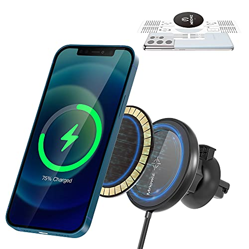 Magnetic Wireless Car Charger for MagSafe with Magnet Sticker, Mriowiz Car Mount Charger Mag Safe Air Vent Holder for iPhone 13/12/11/X/XS/XR/8 Series, Galaxy Note 20/10/9/8/S21/S20/S10/S9/S8 & More