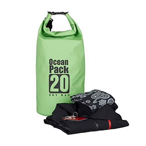Relaxdays Ocean Pack, 20L, wasserdicht, Packsack, leichter Dry Bag, Trockentasche, Segeln, Ski, Snowboarden, grün
