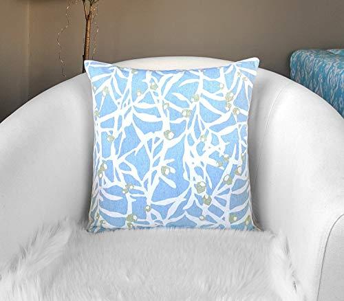 Toll2452 Funda de almohada de hojas de ramas azul claro para decoración del hogar