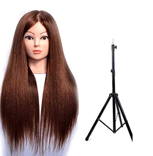 Coiffer Coiffure Femme Mannequin 80% Vrais Cheveux + Support + Accessoires Tête De Mannequin Femme Formation Beauté Maquillage Étudiant,Browna