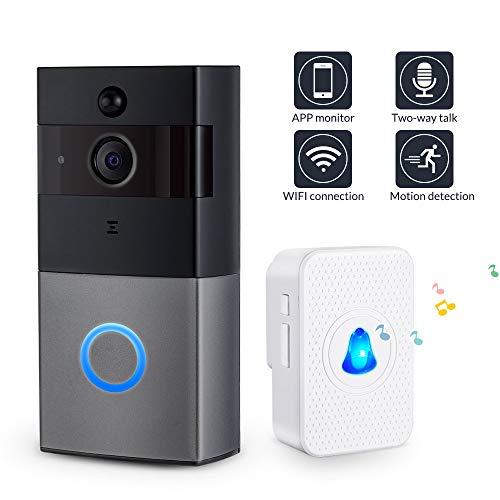 KAR Funk-Türklingel Intercom-Türklingel 166 ° Weit 1080P Überwachungskameras Zwei-Wege-Audio-Karte intelligente drahtlose Internet-Türklingel