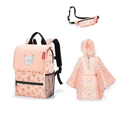 Reisenthel kinderrugzak + kinderregenponcho + gratis kleine portemonnee, Rose kattenroos. (rood) -