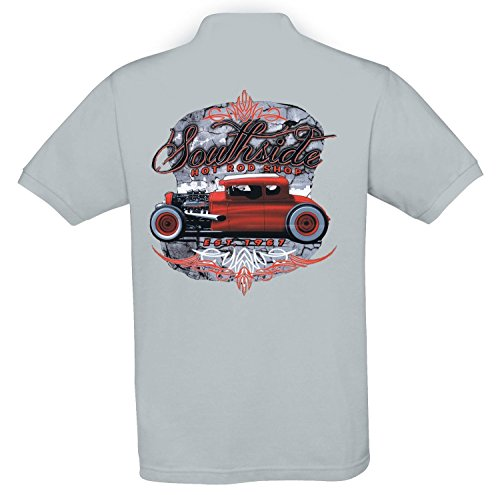Ethno Designs - Southside - Hot Rod Polo Shirt Old School Rockabilly Retro Style pour Hommes regular fit, gris pacific, taille XXXL