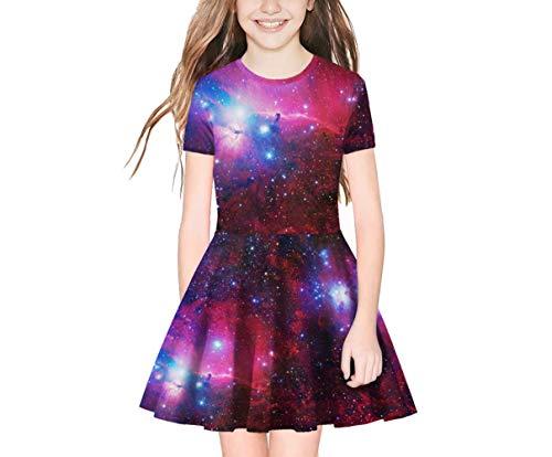 TENMET Girl s Dress 3D Galaxy Print Short Sleeve Swing Skirt Casual Kids Party Dress 8-11Y