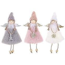 3 Stück Weihnachts-Engel aus Plüsch, Puppenanhänger, Weihnachtsbaum-Dekoration, Ornamente