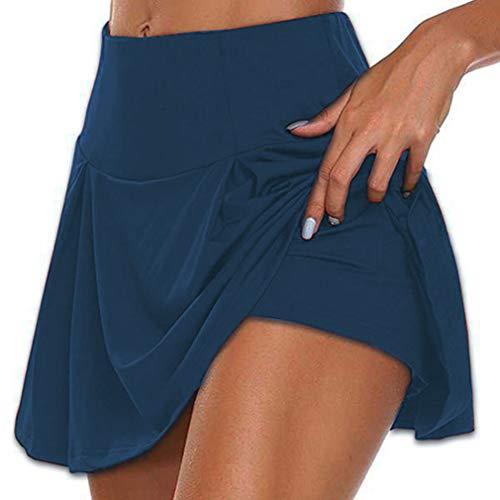 Falda Pantalón Deportiva de Tenis Golf para Mujer Skorts Casuales Cintura Alta Swing Mini Falda Entrenamiento Pilates Fitness Elástica Transpirable