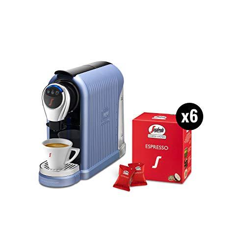 Segafredo Zanetti Coffee System - Máquina para café expreso 1 Plus azul, compacta, intuitiva y elegante con 60 cápsulas expreso originales Segafredo, aroma equilibrado y crema.