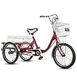 SN Triciclo para Adultos 20 Pulgadas Ajustable Bicicleta 3 Ruedas con Sistema...