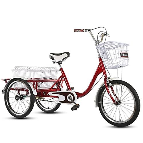 SN Triciclo para Adultos 20 Pulgadas Ajustable Bicicleta 3 Ruedas con Sistema Doble Freno Y Cesta Compra Carga para Personas Mayores Mujer Hombres (Color : Red, Size : No backrest)