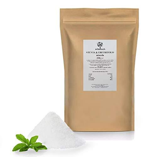 ERBOTECH Mezcla en Polvo de Stevia y Eritritol 250 g, Sustituto de Azúcar Natural con Cero Calorías, Apto para Diabéticos, Vegano, Sin Conservantes ni Colorantes