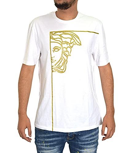 Versace Collection Foil Medusa - Maglietta girocollo da uomo, taglia XL, colore: Bianco
