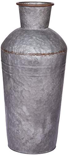 Better & Best 3151263 Jardinera lechera con forma de ánfora grande en gris zinc de laton, color: gris