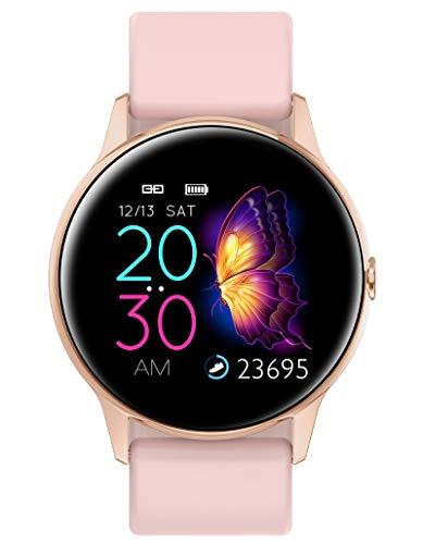 Smartwatch Damen Rosa Pulsuhren Fitness Uhr mit Pulsmesser Blutdruck Touchscreen Fitnessuhr Sport Tracker Schrittzähler IP68 Wasserdicht Frauen Armbanduhr
