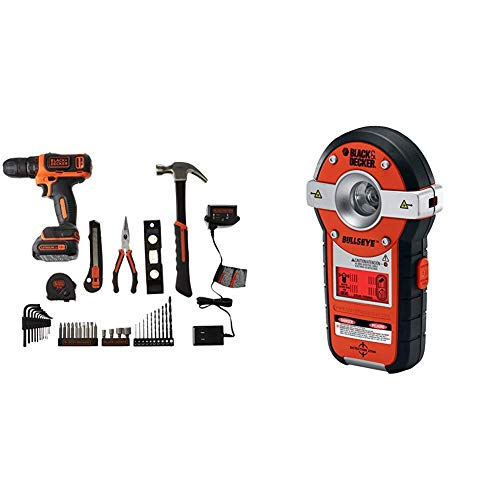 BLACK+DECKER 12V Drill/Home Tool Kit with Auto-leveling Line Laser/Stud Sensor (BCPK1249C & BDL190S)