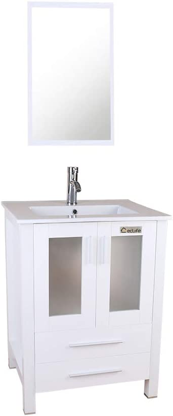 Buy Eclife 24 Bathroom Vanity Sink Combo With Overflow White Drop In Ceramic Sink Top White Mdf Modern Bathroom Cabinet Chrome Solid Brass Faucet And Pop Up Drain With Mirror