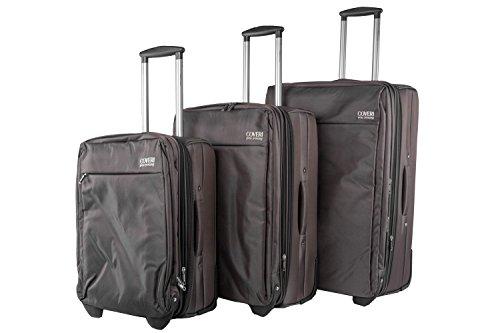 Set valigie trolley 3 pezzi semirigido YY COVERI marrone cabina da viaggio S43