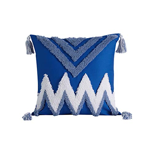 BOAIM HOMETEXTILES Tufted Throw Pillow Covers with Tassel Decorative Square 100% Cotton Cushion Covers for Sofa Bed, Room, Bedroom,18x18 inches,Blue, Pack of 1