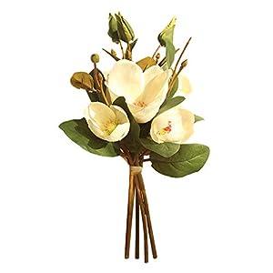 oAtm0eBcl Artificial Magnolia Flower, 1 Bouquet Cloth Flower Magnolia for Garden DIY Stage Party Home Wedding Decor, Bridal Bouquet White Purple
