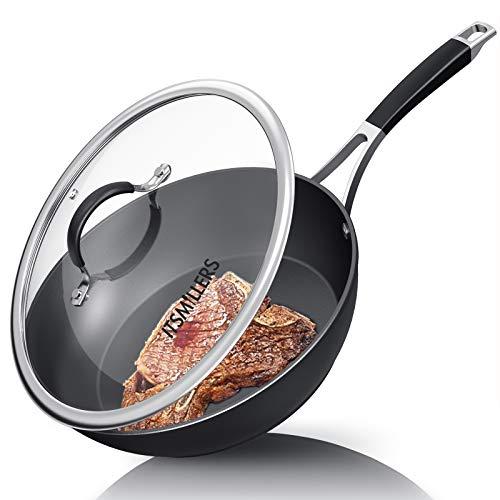 鍋にくっつかない28CMフライパン、ItsMillersスタイリッシュな中華鍋 、カバー付き、4.5L 100%PFOAフリー、IH対応オール熱源対応、食器洗機対応