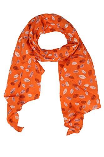 Zwillingsherz Seiden-Tuch Damen mit Blätter Muster - Made in Italy - Eleganter Sommer-Schal für Frauen - Hochwertiges Seidentuch/Seidenschal - Halstuch und Chiffon-Stola Dezent Stilvoll oran