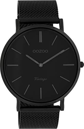 Oozoo Vintage Armbanduhr mit Edelstahl Milanaise Metallband 44 MM Black/Schwarz/Schwarz C9932