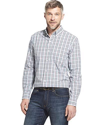 Arrow Herren Long Sleeve Plaid Hamilton Shirt Button Down Hemd, Dusty Blue, Groß