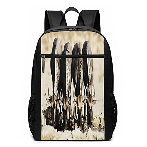 Sac à Dos Décontracté Scolaire Cartable Sacs école pour Garçons Filles Homme Femme Sac De Camping Voyage Laptop Backpack Vache Boire Eau Corne