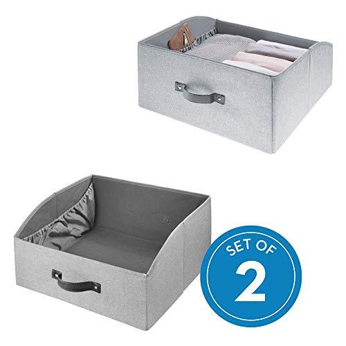 iDesign Codi Schubladenbox mit Griff und Innentasche, flache Aufbewahrungsbox aus Polyester, grau