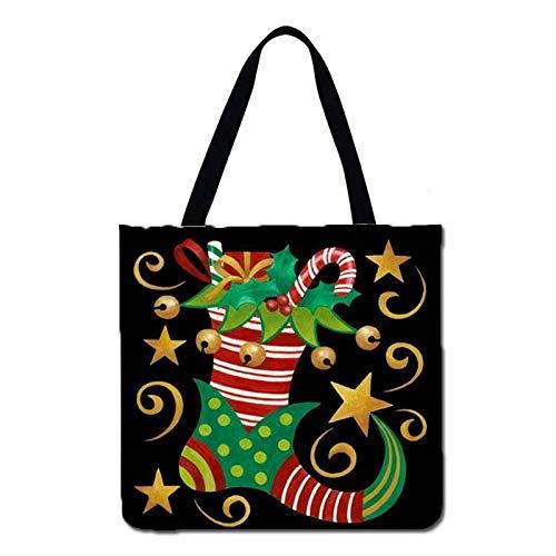 DIAOSUJIA Weihnachtstasche,1 STK Schultertasche Frauen Dekoration Weihnachten Socke Casual Tote Leinen Stoff Einkaufstasche Faltbare Einkaufstasche Wiederverwendbare Strandtasche