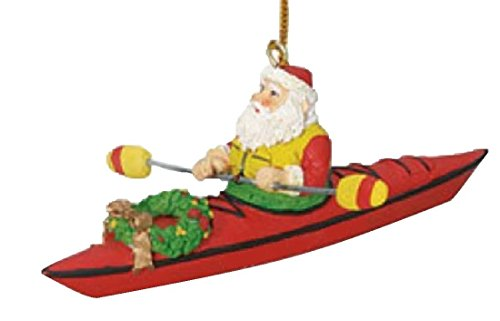 Santa on a Kayak Christmas Tree Holiday Decoration Ornament