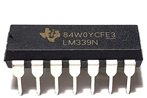 Juried Engineering LM339N LM339 Quad Differential Comparator Industrial Grade Breadboard-Friendly IC DIP-14 (Pack of 10)