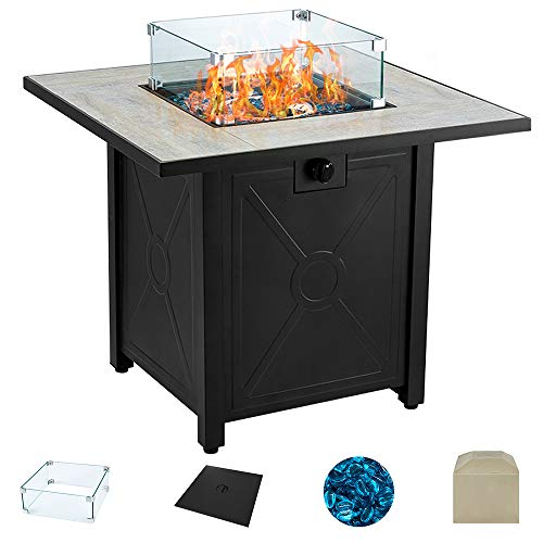AVAWING Propane Fire Pit Table, 30 inch 50,000 BTU Square Gas Firepits w/Ceramic Tabletop with Waterproof Cover, Glass Wind Guard, Tempered Glass Beads, Protective Cover
