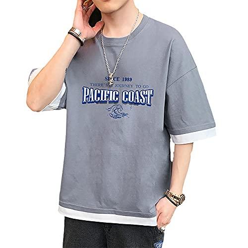Camiseta de verano de corte ajustado, de manga corta para verano con corte holgado., gris, XXL