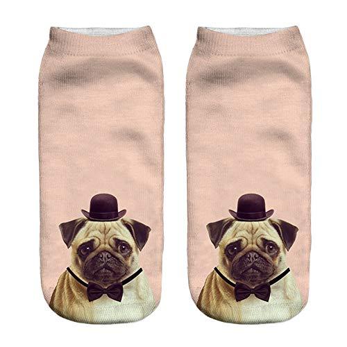 Kids Weihnachtssocke Socks Jungen Socken Kinder StrüMpfe Baumwolle Verschiedene Farben Und Odd Motive MäDchen Junge Beliebte Lustige Unisex Kurze 3D Hund bedruckt FußKettchen Casual(H,20cm)